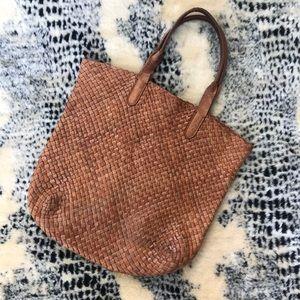 Vintage genuine leather basket weave purse